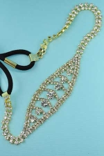 Clear Gold Two Row Round Stone Headband