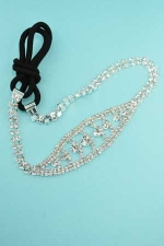 Clear Silver Two Row Round Stone Headband