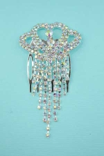 Clear Silver Shell Pattern Comb with Dangles