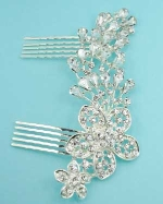 Clear Silver Flower Shape Round/Pearshape Stone Hair Comb
