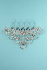 Clear Silver Mini Crown Round Stone Comb