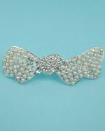 White Pearl/AB/Clear Silver Irregular Double Bow Clamp