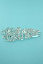 Clear Silver Goose Shape Round/Pear Stone Hair comb