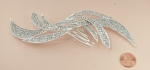Clear/Silver Long Rhinestone Cluster Hair Comb