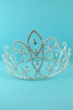 Clear/Silver Round Stone Framed Crown Tiara