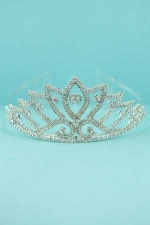 Clear/Silver Spike Small/Medium Round Stone Tiara