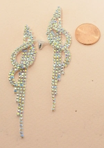 AB/Silver Music Note With Tassle Rhinestone Post Earring