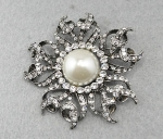 Pearl/Antique Silver Sun Pin
