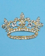 Clear/Gold Assorted Stone Crown Pin