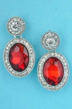"""Siam Dark/Clear Silver Circle Top Oval Bottom 1.2"""" Post Earring"""