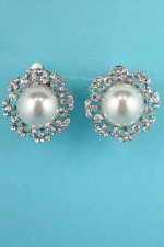 "Pearl/Clear Silver Round Shape/Stone Clip 1"" Earring"
