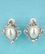 Pearl/Clear Silver Mirror Shape Oval Stone Earring