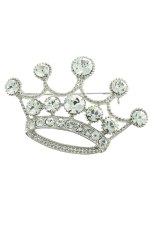 Clear/Silver Large Crown Pin