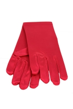 "Satin Wrist Gloves 2"" Red"