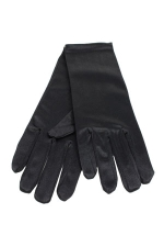 "Satin Wrist Gloves 2"" Black"