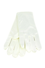 "Satin Wrist Gloves 2"" Ivory"