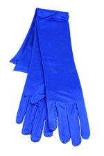 "Satin Gloves 16"" Royal Blue"