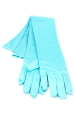 "Satin Gloves 16"" Aqua"
