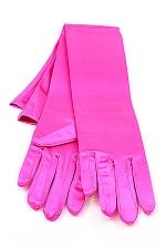"Satin Gloves 16"" Fushia"