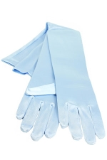 "Satin Gloves 16"" Light Blue"