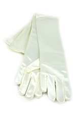"Satin Gloves 16"" Ivory"