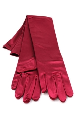 "Satin Gloves 16"" Burgundy"