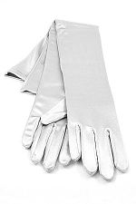 "Satin Gloves 16"" Silver"