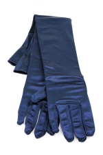 "Satin Gloves 16"" Navy"