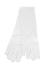 "Satin Long Gloves 6"" 3-6 Child's White"