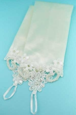 "Pearl/Ivory Flower Embroidery Top 10"" Gloves"
