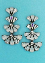 "Opal/Clear Silver Three Flower Shape 2"" Post Earring"