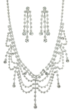 Clear/Silver Multi-Drape with Dangles Set