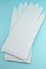 Pearl/White Pearl Bottom Embroidery Glove