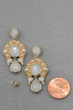 Pearl/G Oval Framed With Pearl Dangle Post Earring