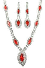 Light Siam/Clear/Silver Marquis Necklace Set