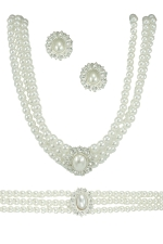 White Pearl/Silver 3Piece Necklace Set