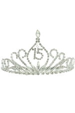 "Clear Silver Quince ""15"" Tiara"