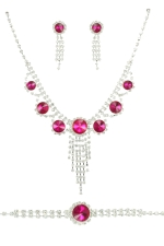 Fuchsia/Silver Round Stone 3Piece Necklace Set