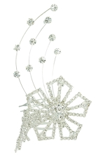 Clear Silver Flower with 4Line Hair Comb