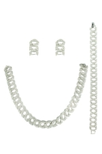 Clear Silver 3Piece Link Necklace Set