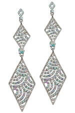AB/Silver Double Diamond Shape Earring