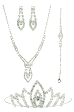 Clear/Silver Marquis Shape with Round Center 4 Piece Tiara Set