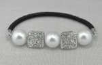 White Pearl/Silver Square Ponytail Holder