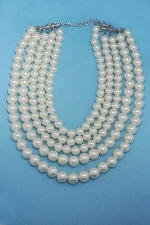 Pearl/Silver Medium Round Pear Stone Necklace