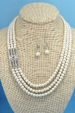 "Pearl/Clear Silver 20"" 3 Rows Side Crystal Set"