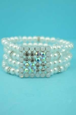 Pearl/Multiple Colors Square Round Stone Stretch Bracelet