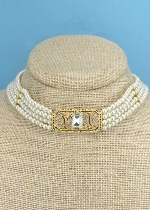 "Pearl/Gold 13"" 4 Row Center Stone Chocker"
