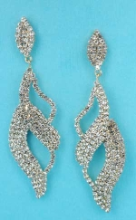 """Clear Gold Wave Shape Small Round Stone 3"""" Post Earring"""