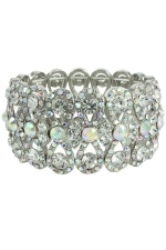 AB/Clear/Silver Wide Bowtie Stretch Bracelet