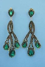 "Emerald/Gold 5"" Clip Flame Shape Earring"